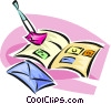 philately, stamp collecting Vector Clipart illustration