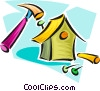 Vector Clip Art picture  of a building a birdhouse