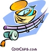 Vector Clip Art picture  of a fishing rod and basket