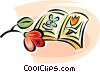 Vector Clipart graphic  of a flower books
