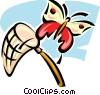 Vector Clipart image  of a butterfly and net