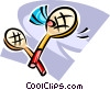 Vector Clip Art picture  of a Badminton rackets