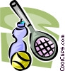 Tennis racket, ball, and water bottle Vector Clipart graphic