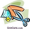 Vector Clipart graphic  of a scissors with fabric