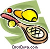 Vector Clip Art image  of a Tennis racket and ball