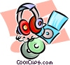 Vector Clipart illustration  of a headphones and CD's