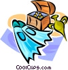 diving fins, sunken treasure Vector Clip Art graphic