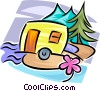 Vector Clip Art graphic  of a Camping trailer