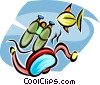 Vector Clipart graphic  of a Scuba gear and fish