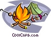 Campfire and tent Vector Clipart graphic