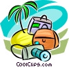 Island, camera and luggage Vector Clip Art image