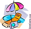 Vector Clip Art picture  of a beach gear