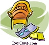 Vector Clipart graphic  of a chair and reading material