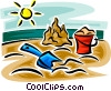 Vector Clipart image  of a beach supplies