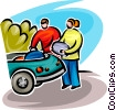 Vector Clipart graphic  of a people loading the car
