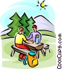 Vector Clip Art graphic  of a people sitting at a picnic