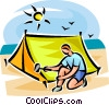 Person setting up a tent Vector Clipart illustration