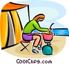 Person cooking at a campfire Vector Clipart picture