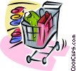 shopping cart with clothing items Vector Clipart graphic