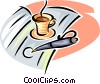 cup of coffee and a fountain pen Vector Clip Art graphic