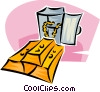 Vector Clipart image  of a gold bars with vault