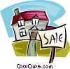 Vector Clipart illustration  of a For sale sign