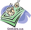 Vector Clip Art graphic  of a roll of the dice
