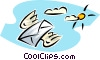 Vector Clip Art image  of an airmail delivery with flying