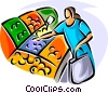 Vector Clip Art image  of a Woman shopping for fruit