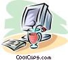 cup of tea beside a computer monitor Vector Clipart illustration
