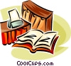 Vector Clipart illustration  of a books of record with printer