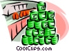 Vector Clipart graphic  of a canned goods at retail store