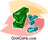 Vector Clipart graphic  of a stacks of dollars and precious