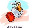 Vector Clipart picture  of a shopping bag with purchases