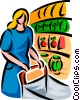 Vector Clip Art image  of a woman shopping at a grocery