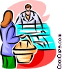 woman shopping with counter clerk Vector Clip Art picture