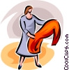 Vector Clipart graphic  of a woman examining a garment