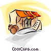 Vector Clip Art graphic  of a produce tent