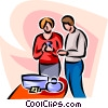 man and woman shopping Vector Clipart illustration