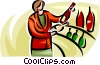 Vector Clipart picture  of a woman shopping for wine