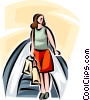 woman riding an escalator while shopping Vector Clipart graphic