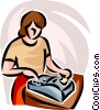 accountant with adding machine Vector Clip Art graphic