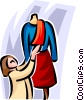 woman with mannequin Vector Clip Art graphic