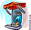 vendor in a small outdoor booth Vector Clipart picture