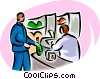 Vector Clipart graphic  of a man buying food items with