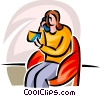 Vector Clip Art image  of a purchasing via telephone with credit