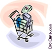 shopping cart with purchased items Vector Clipart illustration
