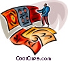 Vector Clip Art graphic  of a man shopping for carpet