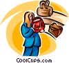 Vector Clipart picture  of a woman shopping for a new purse