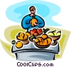 Vector Clipart picture  of a woman at a fruit stand